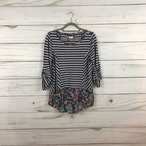 Anthropologie Fairly Blue White Stripe Floral Top